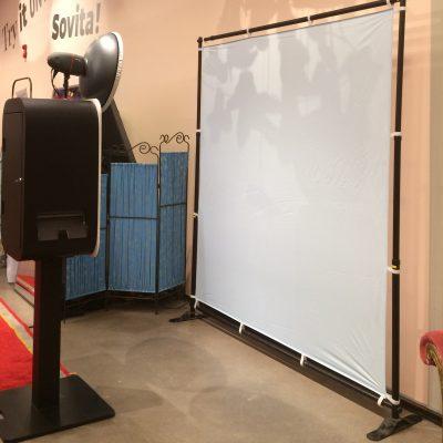 photobooth fotobakgrund flexwall med tyg rosa eller blå